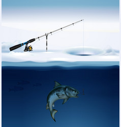 winter fishing realistic composition vector image