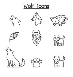 wolf icon set in thin line style graphic design vector image