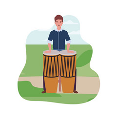Young man with congas in background landscape vector