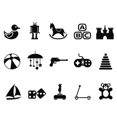 black toy icons set vector image
