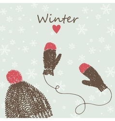 card with knitted cap and mittens vector image vector image