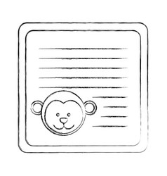 Monochrome blurred card with male monkey head vector