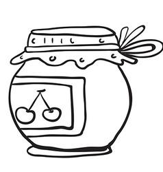 simple black and white cherry jam jar vector image