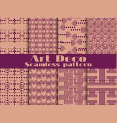 Art deco seamless pattern set retro backgrounds vector