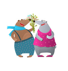 bear couple presenting bunch of flowers vector image vector image