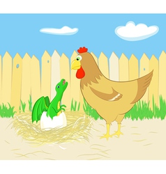 Chicken and dragon hatching from egg vector image