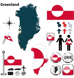 Greenland map small vector image vector image