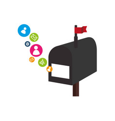 mailbox with social media icons vector image vector image