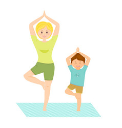 mom and son doing yoga vector image