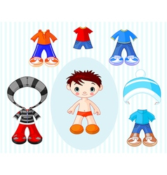 paper doll boy vector image vector image