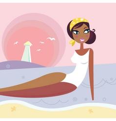 summer woman lying in sea vector image