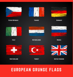 grunge flags set vector image vector image