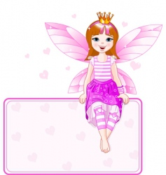 little pink fairy place card vector image vector image