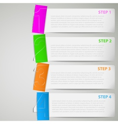 Paper tutorial strips with color stickers vector image vector image