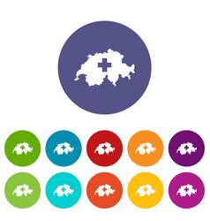 Switzerland map set icons vector