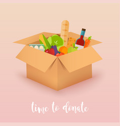 Time to donate food donation boxes full of food vector