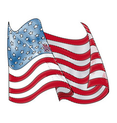 drawing united states of america flag wave vector image vector image