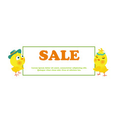 easter sale poster with funny chick vector image vector image