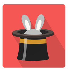 magician hat with a rabbit icon flat style with vector image vector image