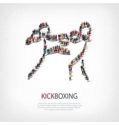 people sports kickboxing vector image