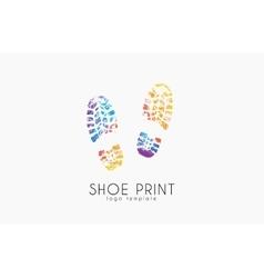 Shoe print logo Color shoe print Creative logo vector image