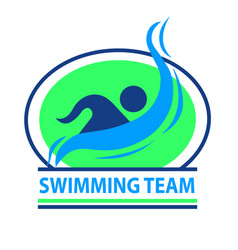 swimming team logo with a green background vector image