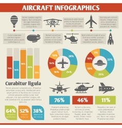 Aircraft icons infographic vector image