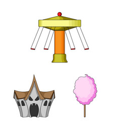 amusement park cartoon icons in set collection for vector image