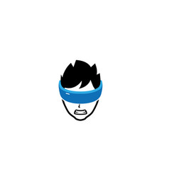 Angry boy with vr eyes covered in blue ribbon logo vector