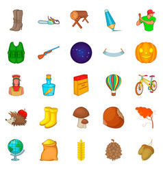 autumn fun icons set cartoon style vector image vector image
