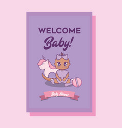 baby shower card with girl and wooden horse vector image