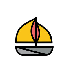 beach boat ship flat color icon icon banner vector image