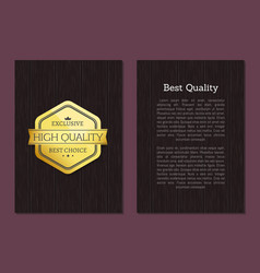 best quality great choice premium gold label text vector image