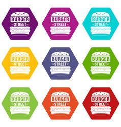 Big street burger icons set 9 vector