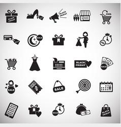 black friday shopping set on white background vector image
