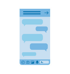 blue smartphone screen with chat messages bubbles vector image