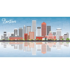 Boston Skyline with Gray Red Buildings vector