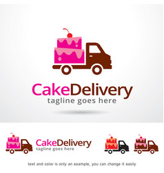 Cake delivery logo template vector