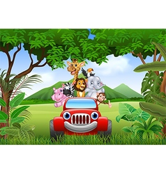 Cartoon animals africa in the red car vector