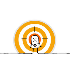 cartoon man on big target vector image