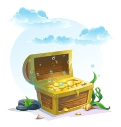Chest of gold in the sand under the blue clouds vector