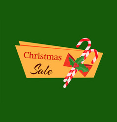 christmas sale tag template with decoration candy vector image