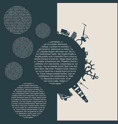 circle with cargo port and travel silhouettes vector image