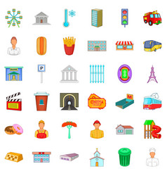 City administration icons set cartoon style vector