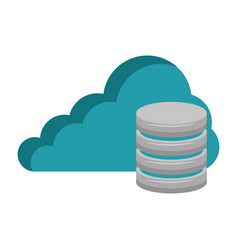 cloud with data disk vector image