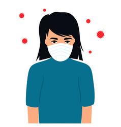 covid19-19 coronavirus symptoms girl in protective vector image