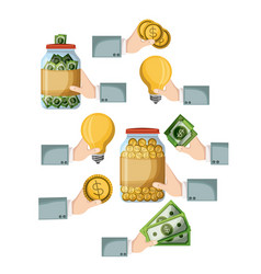 crowdfunding elements set icons of savings ideas vector image