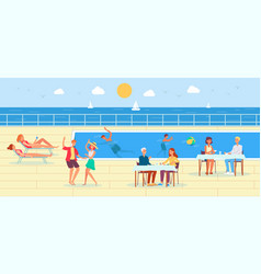 Cruise ship deck with people characters relax by vector