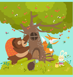 cute animals harvesting cherries vector image