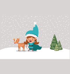 cute girl santa helper with reindeer in snowscape vector image